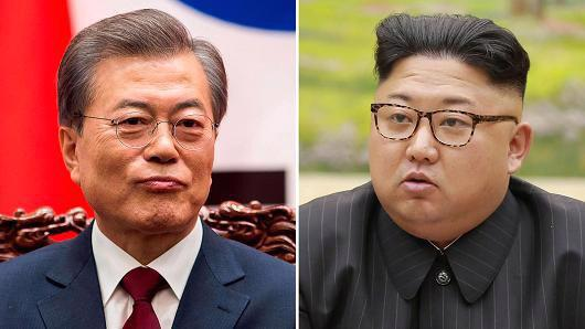 Tổng thống Hàn Quốc Moon Jae-in (trái) và nhà lãnh đạo Triều Tiên Kim Jong Un - Ảnh: Getty/CNBC.