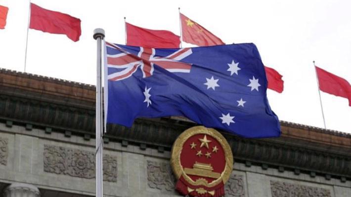 Cờ Australia trước Đại lễ đường Nhân dân trong dịp Thủ tướng Australia Malcolm Turnbull thăm Bắc Kinh tháng 4/2016 - Ảnh: Reuters.