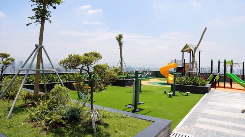 Tầng Sky Garden đã hoàn thiện cảnh quan và hệ thống tiện ích.