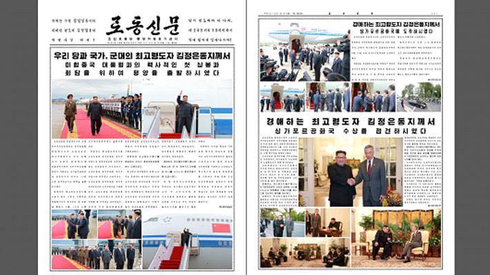 Tờ báo Rodong Sinmun số ra ngày 11/6 của Triều Tiên đăng bài và ảnh về chuyến thăm Singpore của ông Kim Jong Un - Ảnh: KCNA Watch/CNBC.