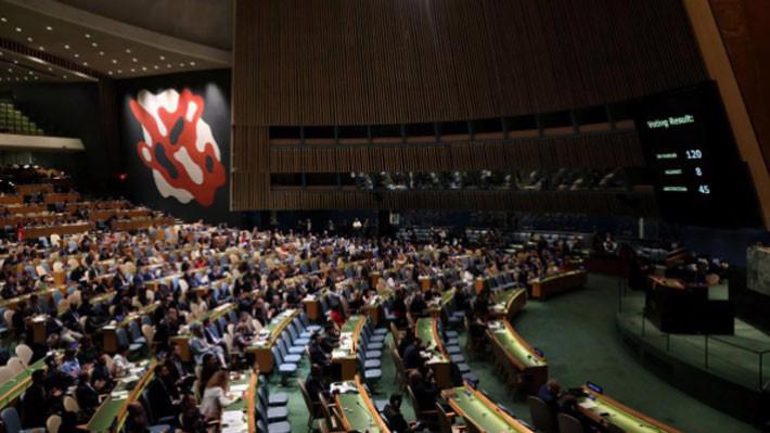 Đại hội đồng Liên hiệp quốc trong cuộc bỏ phiếu nghị quyết lên án bạo lực của Israel nhằm vào dân thường Palestine ngày 13/6 - Ảnh: Reuters.