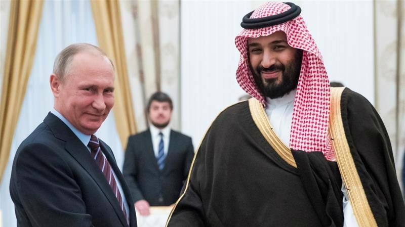 Tổng thống Nga Vladimir Putin và Thái tử Saudi Arabia Mohammed bin Salman trong cuộc gặp hôm 14/6 tại Moscow - Ảnh: Al Jareeza.