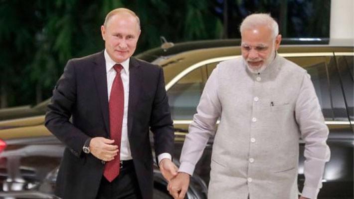 Tổng thống Nga Vladimir Putin và Thủ tướng Ấn Độ Narendra Modi ở New Delhi ngày 4/10 - Ảnh: Tass/Getty.