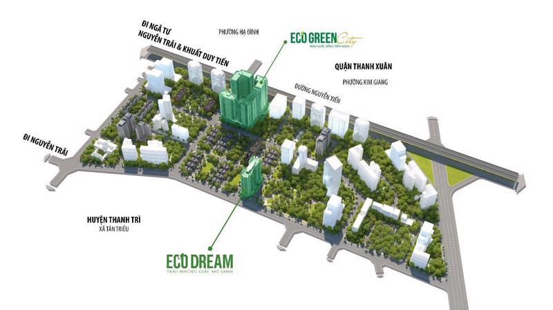 Bản đồ tổ chức không gian kiến trúc cảnh quan khu đô thị Tây Nam Kim Giang 1.