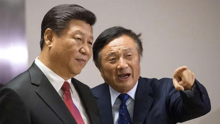 Nhà sáng lập Huawei Nhiệm Chính Phi (phải) và Chủ tịch Trung Quốc Tập Cận Bình thăm văn phòng của Huawei ở London hồi năm 2015 - Ảnh: Press Association/Fortune.
