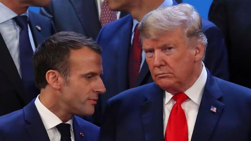 Tổng thống Pháp Emmanuel Macron (trái) và Tổng thống Mỹ Donald Trump.