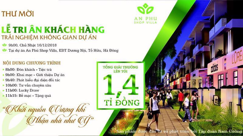 Tổng giá trị giải thưởng tại sự kiện Lễ Tri ân Khách hàng dự án An Phú Shop-villa lên tới 1,4 tỷ đồng.