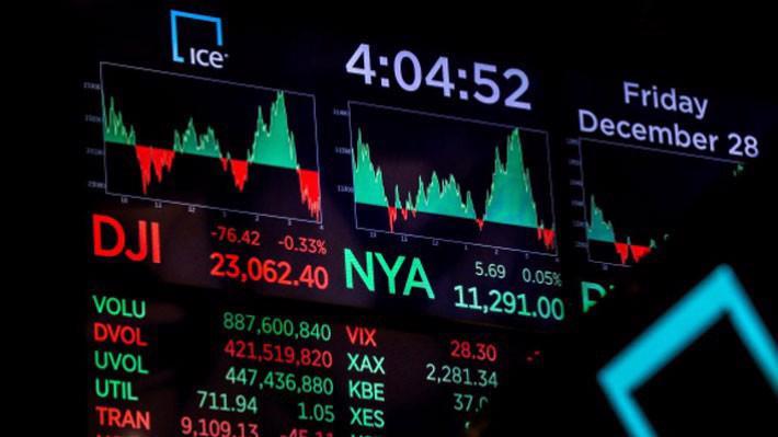 Một màn hình điện tử trên sàn NYSE ở New York khi kết thúc phiên giao dịch ngày 28/12 - Ảnh: Reuters.