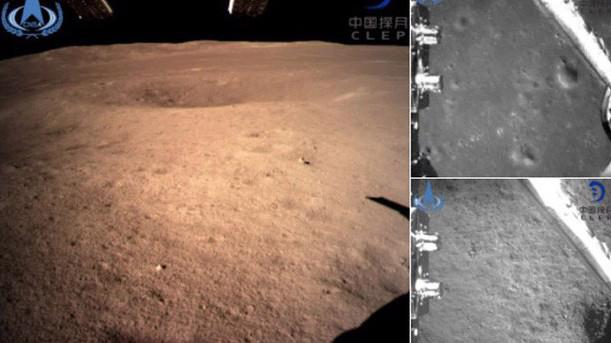 Những hình ảnh từ vùng khuất của Mặt Trăng được tàu thăm dò Hằng Nga 4 gửi về Trái Đất ngày 3/1 - Ảnh: Tân Hoa Xã.