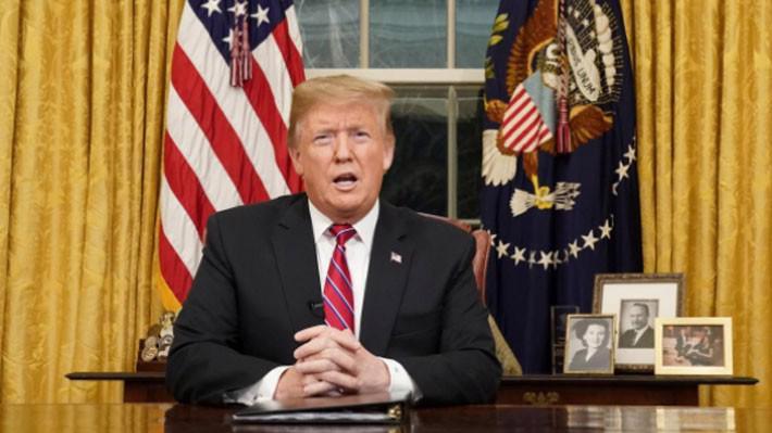 Tổng thống Mỹ Donald Trump trong bài phát biểu từ Phòng Bầu dục, ngày 8/1 - Ảnh: Reuters.