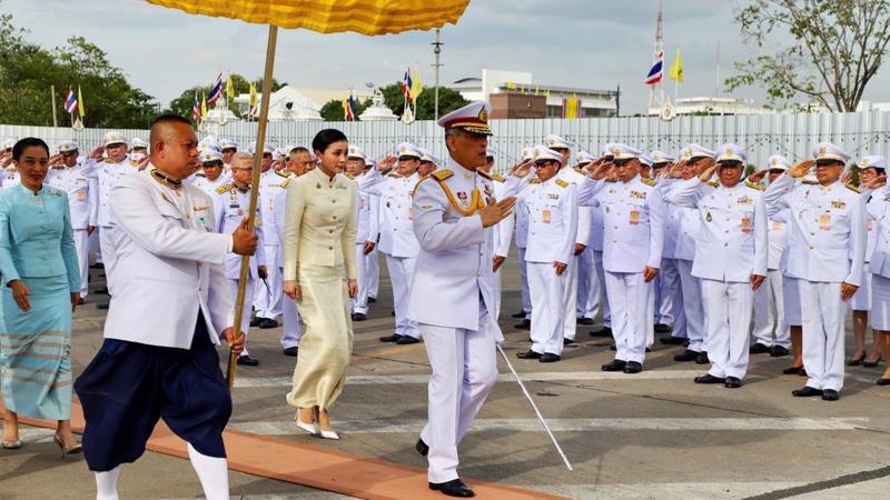 Nhà vua Thái Lan Vajiralongkorn và hoàng hậu Suthida ngày 2/5 - Ảnh: Getty/Bloomberg.