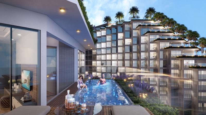 Cận cảnh một căn condotel trong Bộ sưu tập phòng VIP tại Apec Mandala Wyndham Mũi Né sở hữu bể bơi và sân vườn ngay trong căn hộ.