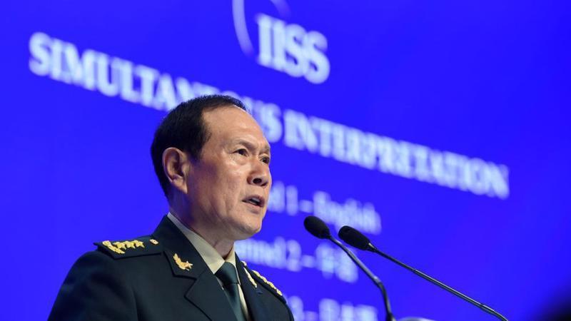 Bộ trưởng Bộ Quốc phòng Trung Quốc Ngụy Phượng Hòa phát biểu ngày 2/6 - Ảnh: Getty/Bloomberg.