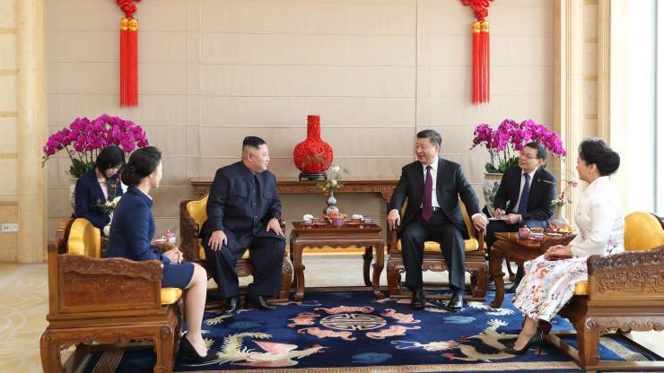 Chủ tịch Trung Quốc Tập Cận Bình tiếp nhà lãnh đạo Triều Tiên Kim Jong Un tại Bắc Kinh tháng 1/2019 - Ảnh: Tân Hoa Xã/Getty.