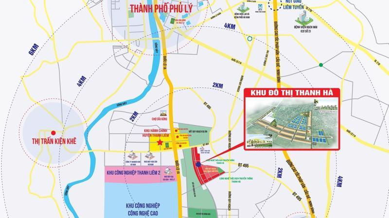 Khu đô thị Thanh Hà cách khu công nghiệp công nghệ cao Thanh Liêm 0,3km.