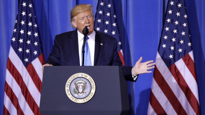 Tổng thống Mỹ Donald Trump trong một cuộc họp báo ngày 29/6 ở Osaka, Nhật Bản - Ảnh: Bloomberg.