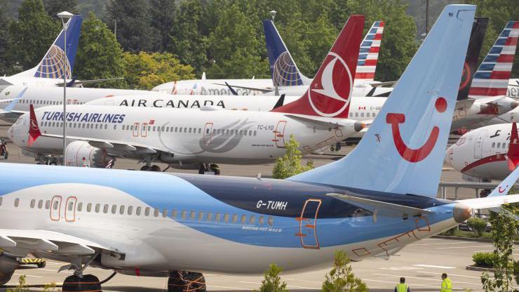 Máy bay Boeing 737 Max bị đình bay được cất ở bãi đỗ Boeing Field, Seatle, Mỹ tháng 5/2019 - Ảnh: Getty/CNBC.