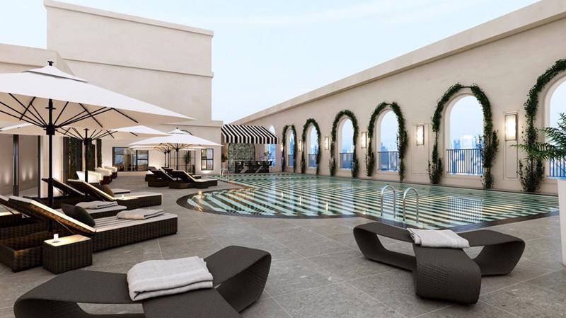 Bể bơi trên tầng thượng đem lại những phút giây thư giãn trọn vẹn cho cư dân.