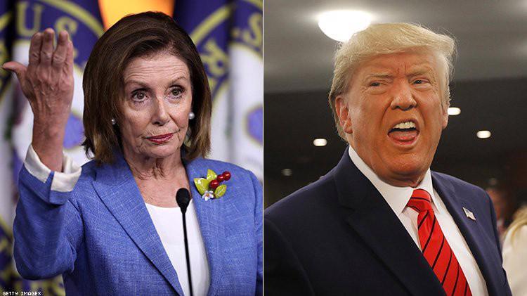 Chủ tịch Hạ viện Mỹ Nancy Pelosi (trái) và Tổng thống Mỹ Donald Trump.