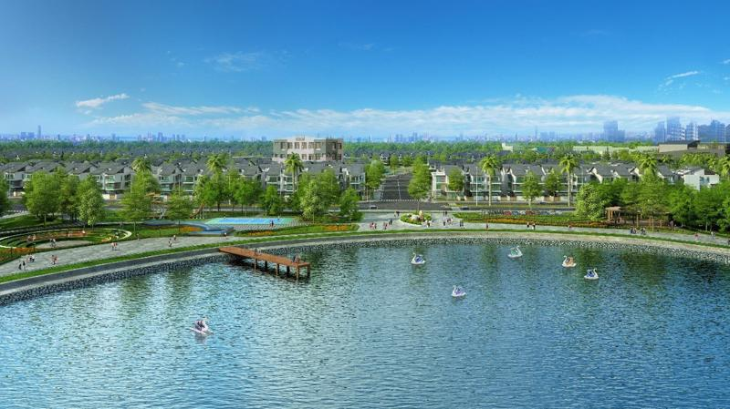An Vượng Villa nằm ngay cạnh Hồ Bác Hợp Thủy rộng 6ha.