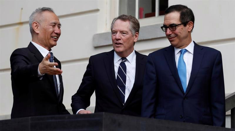 Các nhà đàm phán thương mại cấp cao nhất của Mỹ và Trung Quốc. Từ trái qua: Phó thủ tướng Trung Quốc Lưu Hạc, Đại diện thương mại Mỹ Robert Lighthizer và Bộ trưởng Bộ Tài chính Mỹ Steven Mnuchin - Ảnh: Reuters.