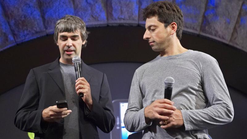 Hai nhà đồng sáng lập Google, ông Larry Page (trái) và ông Sergey Brin.