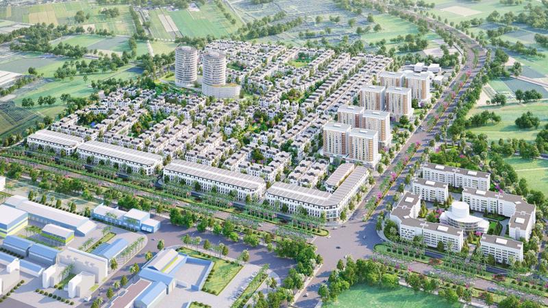 Tổng thể dự án - mặt tiền quốc lộ 10 và trục đường 50m kết nối khu tổ hợp LG vào Trung tâm Hải Phòng.