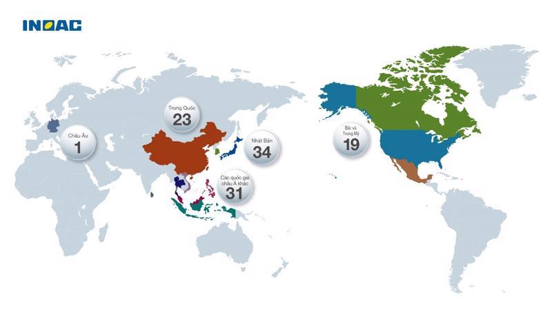 Với mục đích chuẩn hóa chất lượng Nhật Bản trong các sản phẩm, Tập đoàn INOAC sở hữu mạng lưới nhà máy và trung tâm nghiên cứu trên khắp thế giới.