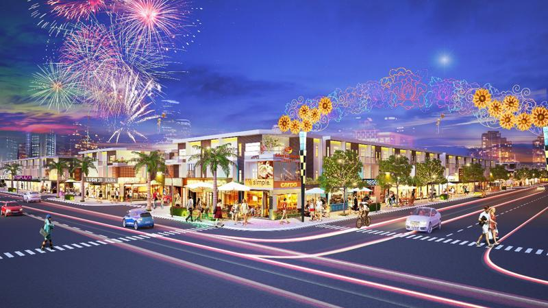 Phối cảnh Phố thương mại Lộc Phát sẽ trở thành trung tâm mua sắm, kinh doanh sầm uất tại khu vực Bến Cát, Bàu Bàng.