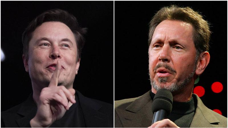 Ông Elon Musk (trái), CEO của Tesla, và ông Larry Ellison, CEO của Oracle.