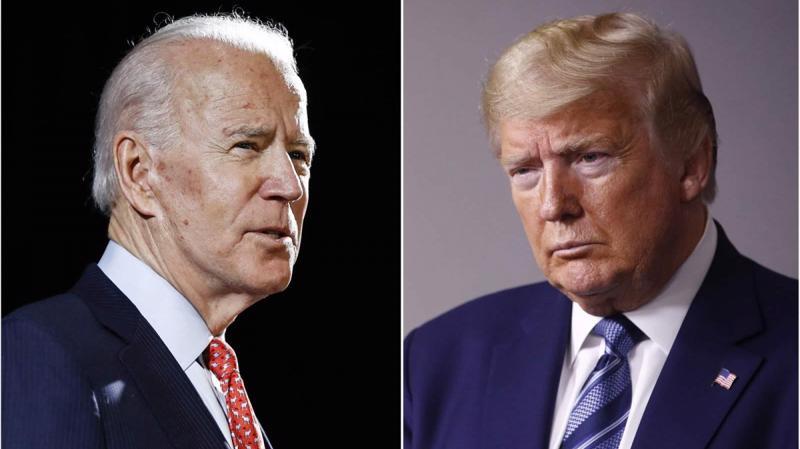 Hai ứng cử viên Tổng thống Mỹ 2020 Joe Biden (trái) và Donald Trump.