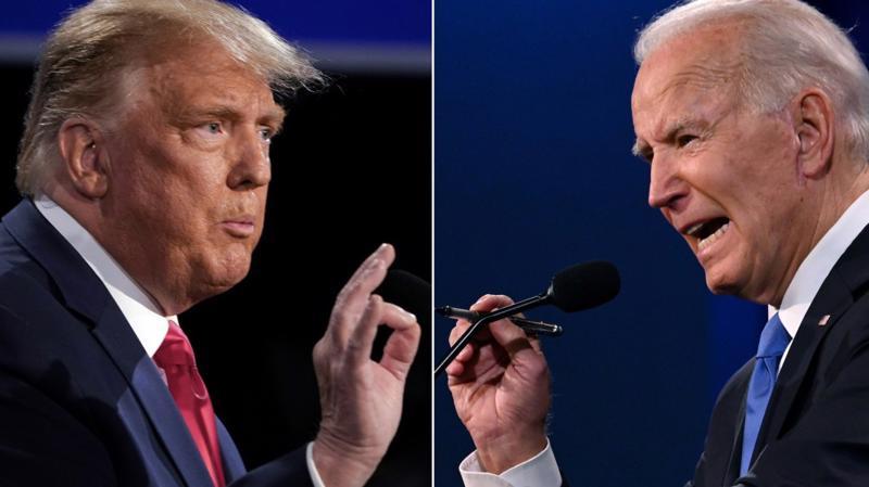Ông Donald Trump (trái) và ông Joe Biden trong cuộc tranh luận trực tiếp cuối cùng trước ngày bầu cử Tổng thống Mỹ 3/11 - Ảnh: FT.