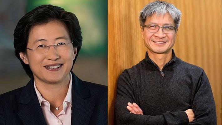 CEO Lisa Su của AMD (trái) va CEO Victor Peng của Xilinx.