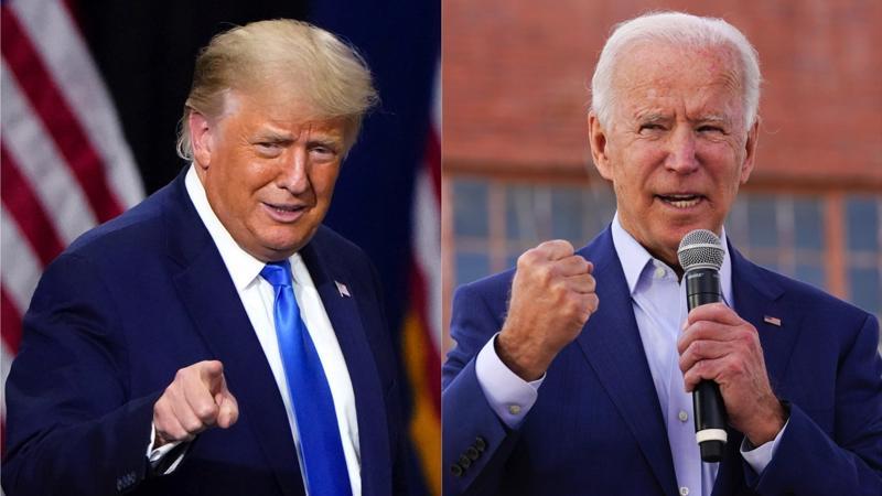 Hai ứng viên tổng thống Mỹ 2020: ông Donald Trump (trái) và ông Joe Biden - Ảnh: LA Times.
