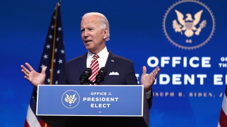 Ông Joe Biden phát biểu tại một sự kiện ở Wilmington, Delaware hôm 16/11 - Ảnh: Getty/CNBC.