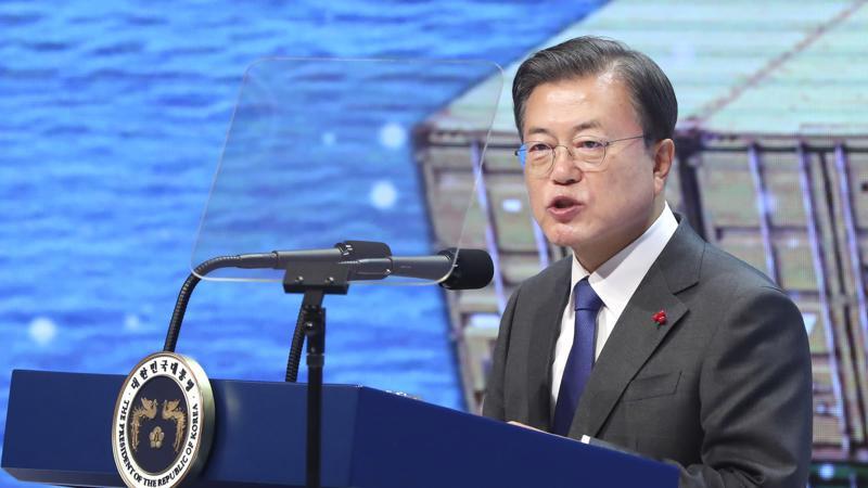 Tổng thống Hàn Quốc Moon Jae-in phát biểu tại sự kiện Trade Day ở Seoul ngày 8/12 - Ảnh: Yonhap/Nikkei.