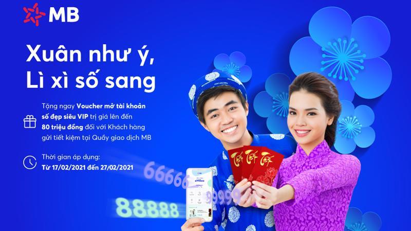 """Gửi tiết kiệm từ 5 tỷ đồng trở lên, khách hàng được tặng voucher mua tài khoản số đẹp """"Kim Cương"""" trị giá 80 triệu đồng."""