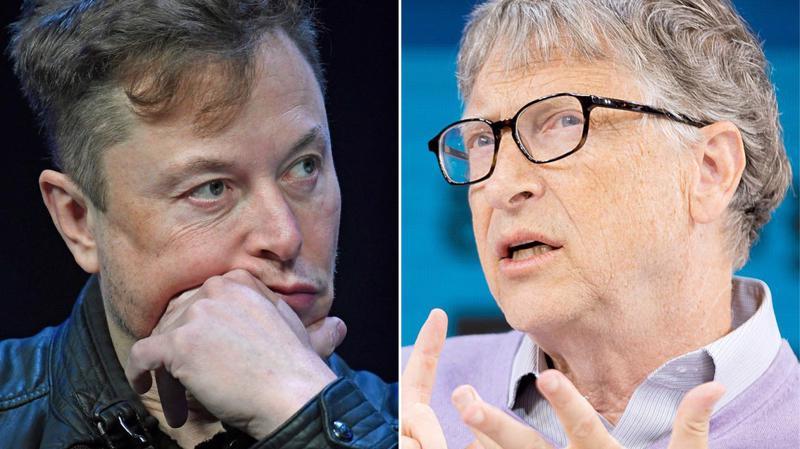 Tỷ phú Elon Musk (trái) và tỷ phú Bill Gates.