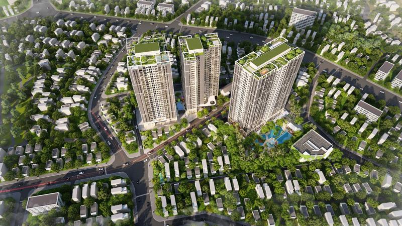 Feliz Homes là dự án hiếm hoi trong nội đô dành phần lớn diện tích phát triển cây xanh, mặt nước.