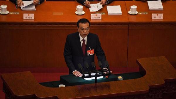 Thủ tướng Trung Quốc Lý Khắc Cường phát biểu tại Hội nghị Hiệp thương chính trị Nhân dân Trung Quốc (CPPCC) sáng 5/3 - Ảnh:Getty/Bloomberg.