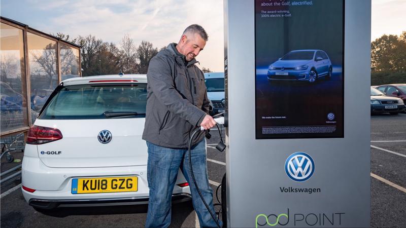 Một trạm xạc xe điện của Volkswagen.