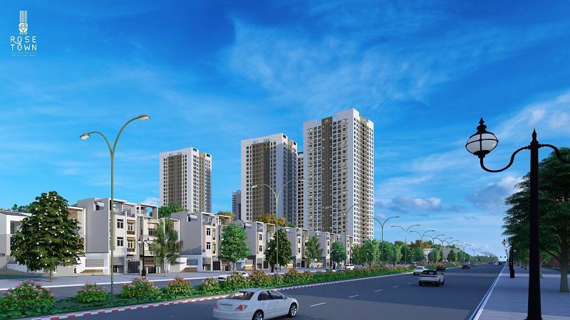 Dự án Rose Town được đầu tư bài bản với quy mô hơn 4ha.