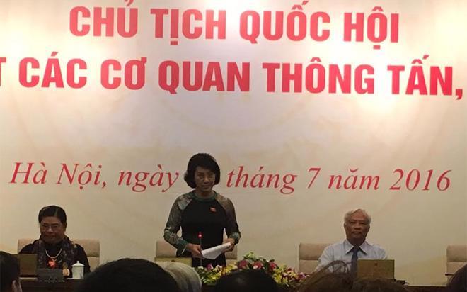 Chủ tịch Quốc hội Nguyễn Thị Kim Ngân tại buổi gặp mặt các cơ quan thông tấn báo chí, sáng 23/7.<br><b></b>