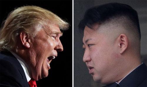 Tổng thống Mỹ Donald Trump (trái) và nhà lãnh đạo Triều Tiên Kim Jong Un.<br>