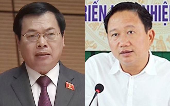 Nguyên Bộ trưởng Bộ Công Thương Vũ Huy Hoàng (bên trái) và ông Trịnh Xuân Thanh, nguyên Phó chủ tịch UBND tỉnh Hậu Giang.<br>