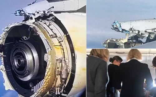 Ảnh do hành khách chụp và đưa lên mạng xã hội Twitter cho thấy một động cơ của chiếc máy bay A380 bị hư hỏng nặng.<br>