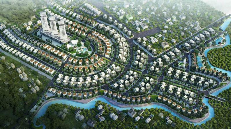 Phối cảnh biệt thự tại dự án Phú Cát City gồm đơn lập, song lập và ven suối.