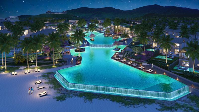 Phối cảnh bể bơi tràn bờ trong nội khu dự án Sun Premier Village Kem Beach Resort.