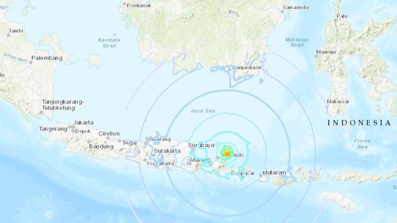 Động đất ngoài khơi Bali - Nguồn: USGS.