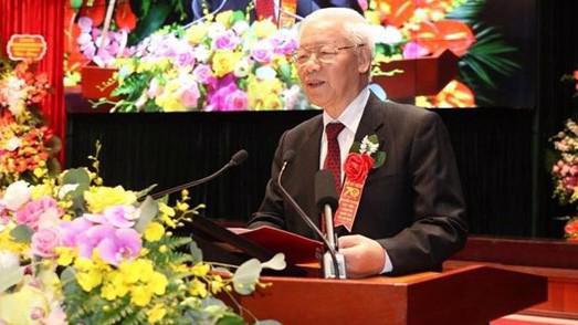 Tổng bí thư, Chủ tịch nước Nguyễn Phú Trọng phát biểu tại lễ kỷ niệm.